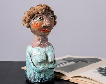 Paper mache sculpture, Handmade small statue, Decorative Woman sculpture, Art figurines, Woman with natural cone Hair, One of a Kind Art