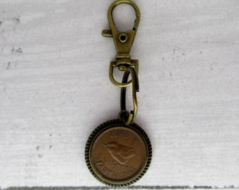 Outlander Themed 1945 British Farthing Antiqued Bronze Keyfob with Bird Motif
