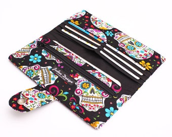 Women's Long Wallet, Colorful Clutch Wallet, Handmade Fabric Travel Wallet, Phone Coupon Case Clutch - floral sugar skulls in black