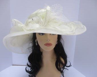 """New Kentucky Derby, Church, Wedding, Tea Party with Two Big Flower 4 Layers 7"""" Wide Brim Organza Hat ( Off white/Ivory)"""