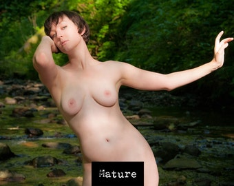 Female outdoor artistic nude - color or black and white - The Lady of the Creek 01 - MATURE