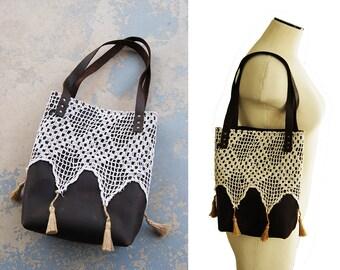 Leder-Einkaufstasche - rustikale Leder und Spitze Quaste Geldbörse