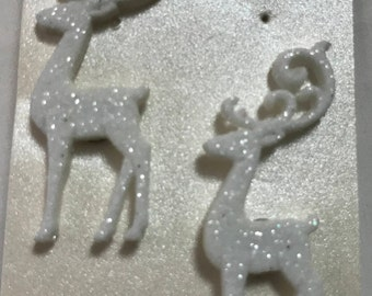 White Glitter Reindeer Earrings