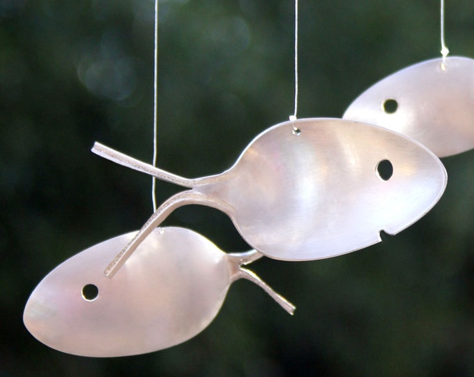 Vintage Silver Plated Spoon Fish Windchime, Spoon Fish Wind Chime, Free Shipping, Game Fish, Gift For Him Wall, Unique Wall Hanging,fish Art