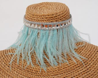 Baby Blue Whisper Ostrich feather and diamond dog choker.