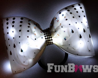 Gorgeous   White tail-less   LED Light up Glo Bow with AB  Rhinestones  by FunBows !