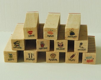 Wooden Rubber Stamp Set - Mini Diary Stamp Set - I'd like to... -  12 Pcs