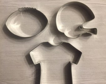 Set of 3 Football cookie cutter - baking supply, sports party, football party, superbowl, kids birthday, sports baby shower