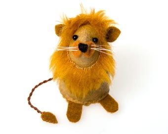 Felt Lion - Leo collectable art lion artists cat cute soft sculpture toy stuffed plush doll ornament gift for leo cute zodiac safari lion