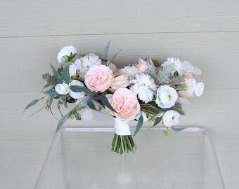 Silk Wedding Bouquet | Cream and Light Peach | Forever Fresh Keepsake Fake Flower Bouquet | SG-1063