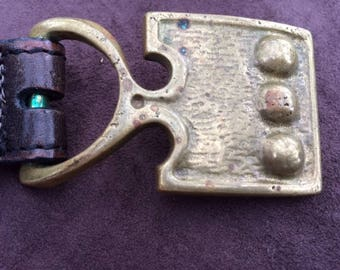 Solid Brass 1972 Modern Belt Buckle with leather belt