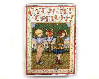 "Vintage Mary Engelbreit Tin - ""Open It!  Open It"" Birthday or Valentine's Day Gift Giving Tin"