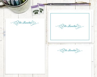 complete personalized stationery set - PERFECTLY ELEGANT  - personalized stationary set - note cards - notepad - feminine stationery