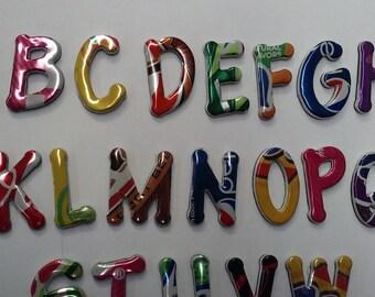 Magnetic Alphabet  Recycle Art Soda/ Pop Cans Teachers