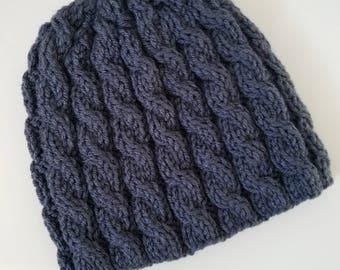 Men's hat, men's winter hat, dark blue, navy, men, women, handknit beanie, handknit men winter hat, women handknit hat