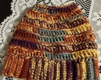 multicolor yarn crochet messy bun/ ponytail Hat
