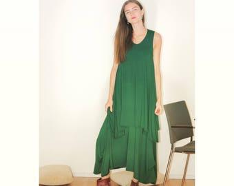Tricot dress, Green dress, Maxi trikot dress