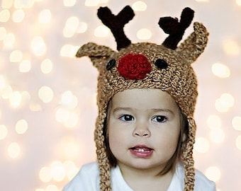 Baby Hat - Reindeer Hat - Baby Reindeer Hat -  6-12 months  Cute and Soft Earflap - by JoJosBootique