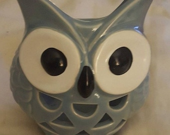 Owl Cut Work Design Ceramic Tea Light Candle Holder Outdoors by Design Blue NEW