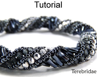 Beading Patterns and Tutorials - Russian Spiral Stitch Jewelry Making - Tubular - Bugles - Simple Bead Patterns - Terebridae #1843