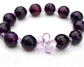 fathers Day Gift Luxury Dark Blackberry Purple Agate Bracelet.Tiny Alexandrite Crystal Bracelet Teardrop Beads Large Faceted Gemstones