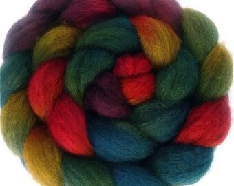 Handpainted Dark BFL Wool Roving - 4 oz. ARCADE - Spinning Fiber