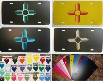 ZIA License Plate ~Choose your Plate and Vinyl Color~ New Mexico, NM, zia symbol, sun, peace