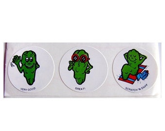 SALE Vintage CTP Scratch and Sniff Dill Pickle Stickers - 80's Scented Collectible