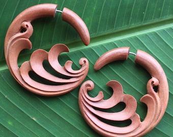 Hand Carved Fake Gauge Earrings - TIDAL - Natural Tan Saba Wood - Tribal Style Jewelry