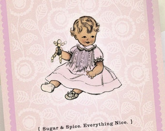 Custom Birth Announcements - Baby Girl Pink - Sugar and Spice - Newborn Photo Card - 100 Announcements