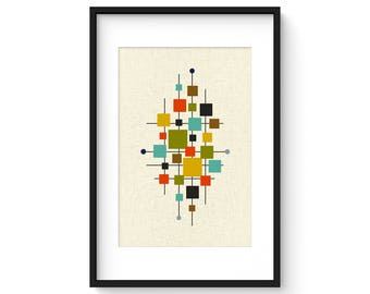 AREA - Mid Century Print, Giclée Print, Abstract Modern Art, Midcentury