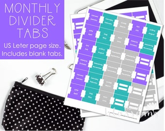 """Monthly Divider tabs, printable. Blank divider tabs included. US Letter (8.5""""x11"""") Size. Instant download. PDF files. Purple, teal and gray."""