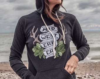 The Midwesterner Black Hoodie. Soft Midwest Pride Hoodie for the Middle Coast.