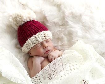 Christmas Santa Hat Baby Knit Pom Pom