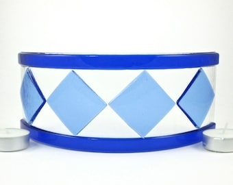 Glass Candle Screen - Light Blue and Dark Blue Fused Glass Candle Screen - Candle Holder, Candle Guard - Blue Diamond Candle Cover -Medium