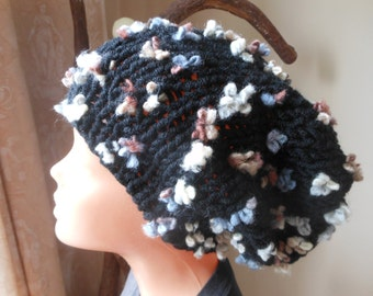 Hand Knit Slouchy Beanie Hat Acrylic Black with Flowers