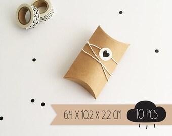 Pillow box / kraft brown / small / 6,4 x 10,2 x 2,2 cm / 10 pieces