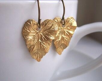 Golden Ivy Leaf earrings - botanical brass leaf - gift for gardener