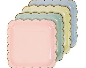 Meri Meri Pastel scallop border plates set of 8