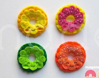 BFF pin set, citrus slice donut brooch set with sugar sprinkles, felt food pin