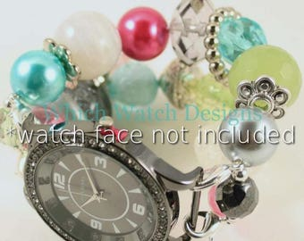 SALE Ornamental.. Pink, Turquoise, Green, White and Gray Beaded Interchangeable Watch Band, Bling