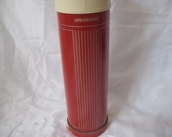 Burgundy gray metal thermos, Landers Frary & Clark Thermos, universal thermos, made in USA, one quart thermos