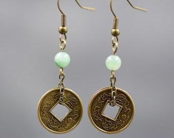 Antique coin earrings ,jade handmade earrings,the best gift for friends