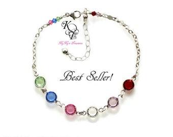 Mothers Birthstone Bracelet - Family Bracelet - Sterling Silver Bracelet - Mothers Bracelet - Birthstone Bracelet - Birthstone Jewelry