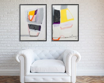 """Grey and Yellow Large print of ABSTRACT Painting Geometric art modern painting """"Just Looking 01"""" by Duealberi"""