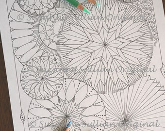 DIY Coloring Page,  Fancy Circle Coloring Page, Adult Coloring Page, Kids Coloring Page, Circle Coloring Page, Printable Download
