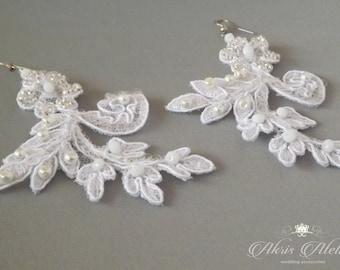 White Lace Earrings, Long Sequins Earrings, Bridal Earrings,