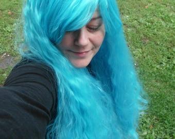 Blue Wig, fluffy wig, aqua blue, teal blue, fluffy blue Wig, Long blue wig, bangs, curly, wavy, cosplay, full, thick, aqua wig,