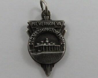 Mt.Vernon V.A. Geo Washington Home Sterling Silver Vintage Charm For Bracelet