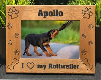 I Love my Rottweiler // Personalized Engraved Photo Frame // Picture Frame // Dog Lover Gift // New Puppy Gift // Rotty // We Love our
